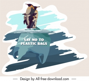 environment protection banner penguine ice sketch flat papercut