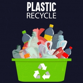 environmental banner recycle sign plastic rubbish icons