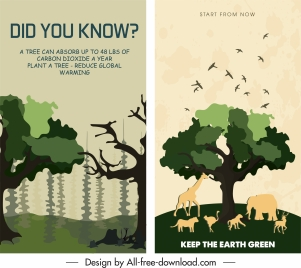 environmental banner templates classic flat sketch