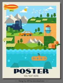 environmental poster template colorful flat sketch