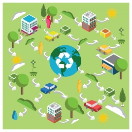 environmental recycling vector with arrows and icons illustration