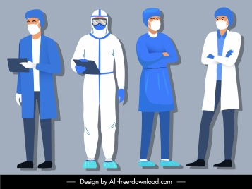 epidemic icons doctors costumes sketch cartoon characters
