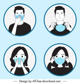 epidemic protection icons face masking person sketch