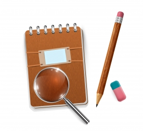 eraser pecil notebook magnifying glass