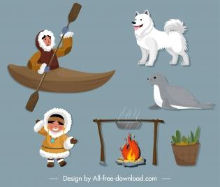 eskimo life design elements colored symbols sketch