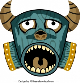 ethnic mask icon scary face design colorful ornament
