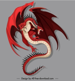 european dragon icon flying gesture catoon design