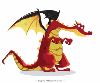 european dragon icon funny cartoon character sketch