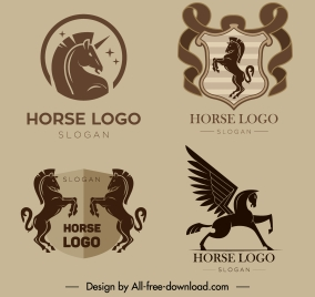 european logotype templates flat retro horse unicorn sketch