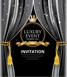 event invitation card crown ribbon icons elegant design