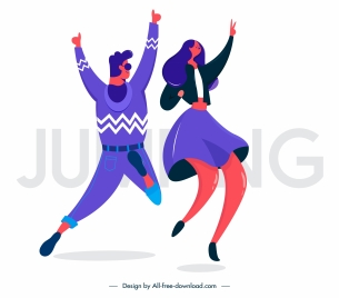 excited people icons jumping gesture sketch cartoon characters