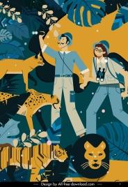 exploration travel banner explorer wild animals sketch