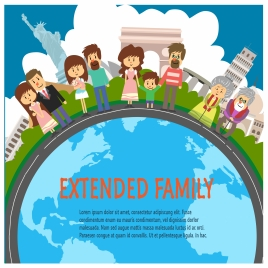 extended family concepts with many generations illustration