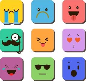 facial emoticon collection colorful squares ornament