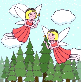 fairy background flying angel icons colored cartoon decor