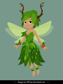 fairy character icon tiny flying girl cartoon design