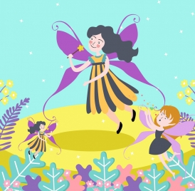 fairy drawing cute girl icons colored cartoon design