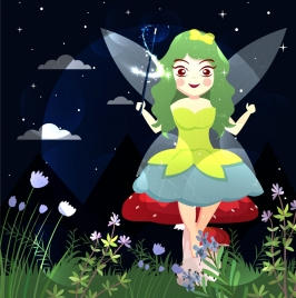 fairy drawing cute girls flowers icons colored cartoon