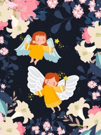 fairy drawing cute winged angles flowers decoration