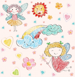 fairy drawing stylized icons colorful handdrawn sketch