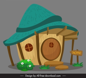 fairy house template colored vintage decor