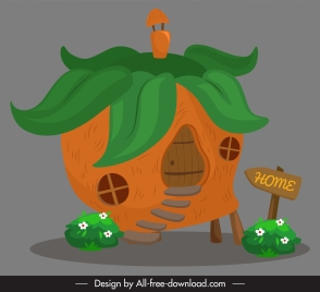 fairy house template pumpkin shape retro handdrawn sketch