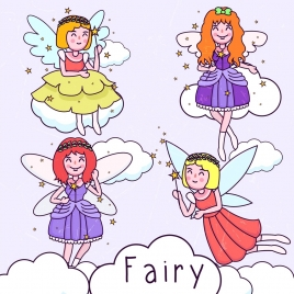 fairy icons collection cute girl design handdrawn sketch