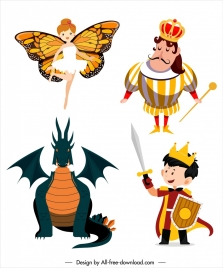 fairy tale characters icons dragon knight king sketch