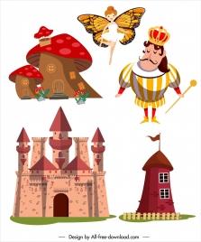 fairy tale design elements castle king legendary sketch