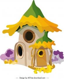 fairy tale house icon colorful retro design