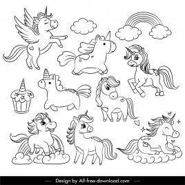 fairy tale icons handdrawn unicorns rainbow sketch