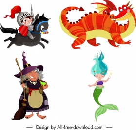 fairy tales characters knight dragon witch mermaid sketch