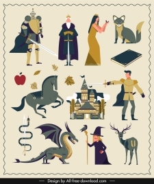fairy tales design elements cartoon characters sketch