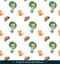 fairytale pattern angel cat roses sketch colorful repeating