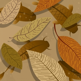 fallen leaves drawing classical brown decor