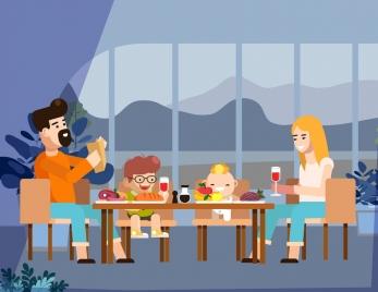 family background parents children dinner icons cartoon design