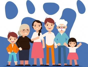 family background parents grandparents children icons cartoon design