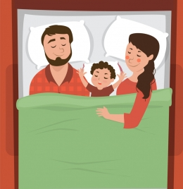 family background parents son bed icons decor