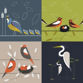 family background sets wild birds icons classical design