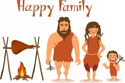 family background stone age design cartoon characters