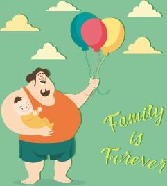 family banner father kid balloon icons cartoon design