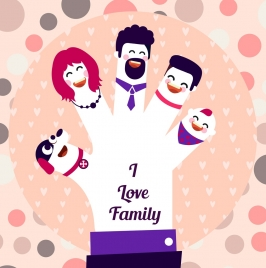 family banner hand fingers people icons decor