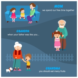 family concepts illustration with seniors and kids