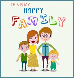 family day banner cute cartoon design multicolored texts