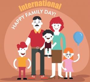 family day poster happy family icon cartoon characters