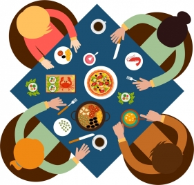 family dinner background colored cartoon design