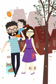family drawing cute colored cartoon design