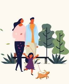 family drawing parents daughter icons cartoon design