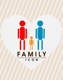 family icons design colored geometric style