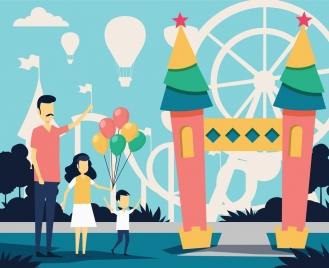 family lifestyle drawing recreation park icon cartoon sketch